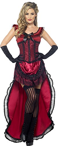 Authentische Western Kollektion Bordell-Schätzchen Kostüm Burgunderrot mit Kleid und Korsett           , (Saloon Girl Kostüm)