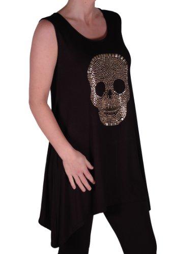 Eyecatch TM - Débardeur tête de mort dorée- Lucy - Femme -Grandes Tailles Noir