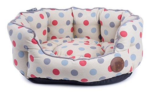 Petface Polka Dots Print Oval Dog Bed, Cream, Medium 2