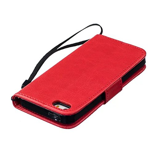 Haute qualité Premium PU Housse en cuir Couverture Solid Dandelion Embossing Wallet Stand Case Couverture pour IPhone 5 5S SE ( Color : Blue , Size : IPhone 5S SE ) Red