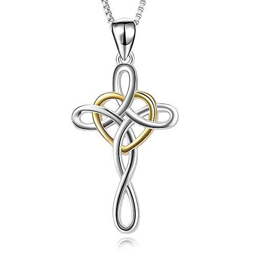 (ANLW Halskette 925Er Sterling Silber Unendlichkeit Kreuz Keltischer Knoten Herzförmig Überzogenes 18 Karat Gold Damen Schlüsselbein Kette Anhänger Christlicher Religiöser,18 Zoll)