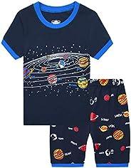 MIXIDON Pijama Corto para Niños Pequeños con Diseño de Dinosaurio y Tren de Algodón PJS, 2 Piezas, Ropa de Dor