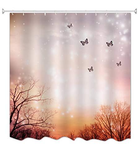 keh Lichter Hintergründe Schmetterling Im Wald Verzauberte Fee Szene Halloween Themed Bilddruck Wasserdicht Schimmelfeste Stoff Polyester Duschvorhang Für Bad Dekore 165X180 cm ()