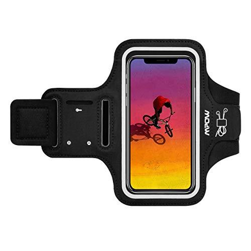 Mpow Fascia Sportiva da Braccio Sweatproof Bracciale per Corsa & Esercizi con Supporto Armband per iPhone 11 PRO Max/11 PRO/XS Max/X/XR/8 Plus/8/7, Samsung Galaxy S10/S9 Plus/S8E Fino a 6,5''- Nero