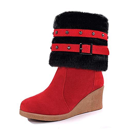 PINGXIANNV Frauen Keile Stiefel Damenschuhe Niete Winter Warme Schuhe Mode Hälfte Kurze Stiefel Damen Kurze Stiefel