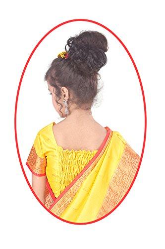 Pratima Girl's Ethnic Party Wear Orange Gold with Maroon contrast Satin Ready...