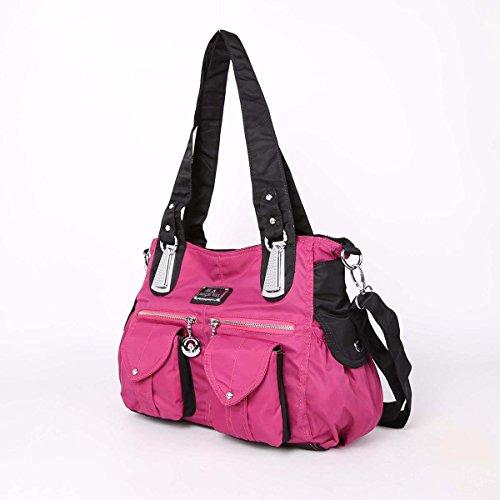 Angelkiss 2 Top Cerniere multi tasche borse di nylon tessuto increspa Tracolle LX1245 Rosso Prugna