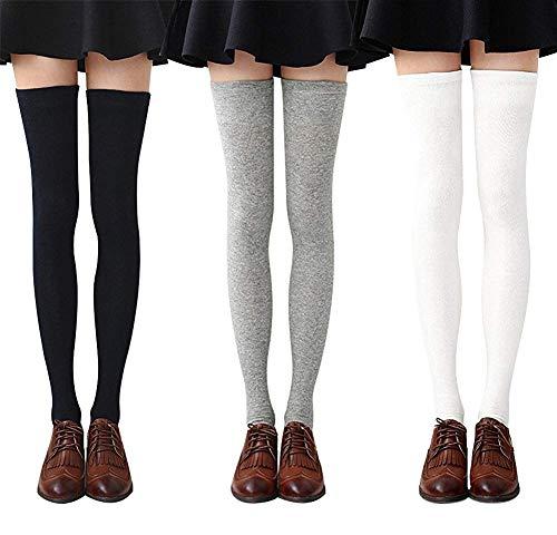 DRESHOW Calze lunghe righe da donna sopra calze cosciali