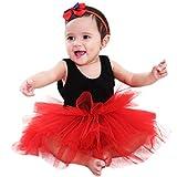 Xmiral Vestido de Danza Ballet Tutú para Fiesta de Disfraz Vintage de Princesa para Niñas Color Sólido Falda(Rojo,3-4 Años)