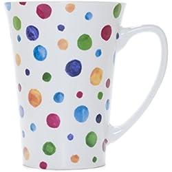 La Cija Dots - Taza cónica de porcelana, color blanco