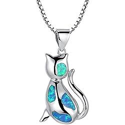 Arco Iris Jewelry Colgante de collar de la mujer de plata de ley con azul y verde ópalo de fuego, gato, cadena de veneciana, 46cm