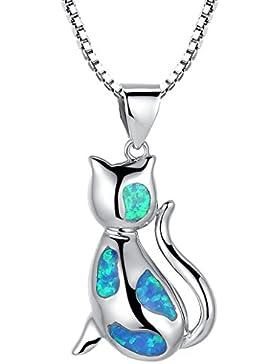 Arco Iris Schmuck Damen-Halskette mit Anhänger Katze Sterling Silber mit Blauer Opal 45 cm