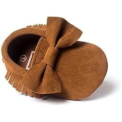 Zapatos para bebé, Culater Patucos niñas niños 0-18 meses (6~12M, Marrón)