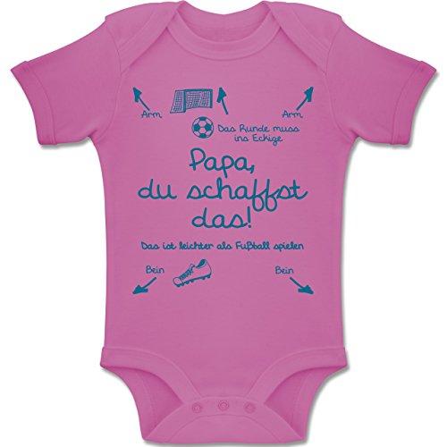 Shirtracer Strampler Motive - Papa du schaffst das Fußball Junge - 6-12 Monate - Pink - BZ10 - Baby Body Kurzarm Jungen Mädchen 9 Handbuch