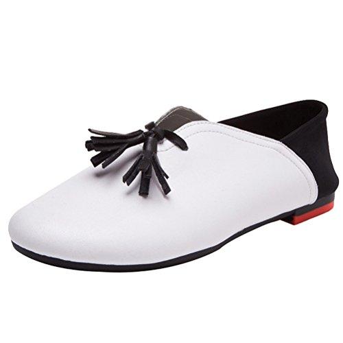 MatchLife Chaussure Femme Plat Et Classique En Cuir Bouche peu Profonde et Confortable Avec Semelle Souple Blanc