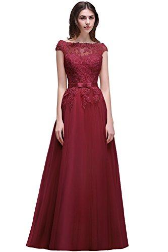 Damen Elegant Spitzen Abendkleid mit feiner Blumenstickerei lang Weinrot 40