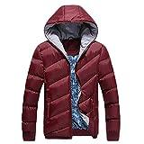 VRTUR Winter Warm Jacke Herren Mit Kapuze Beiläufig Farbwechsel Reißverschluss Mantel Outwear Oben Bluse Parka(Medium,Weiß)
