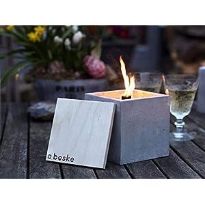 Beske-Betonfeuer mit 'Dauerdocht'   Größe 13x13x13   Wiederbefüllbare Gartenfackel   'Unendliche' Brenndauer durch umweltfreundliches Recycling von Kerzenwachs