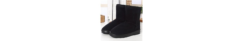 ZHZNVX HSXZ Zapatos de Mujer de Cuero de Nubuck de Goma Botas de Nieve de Invierno Moda Botas Botas Botas Mid-Calf... -