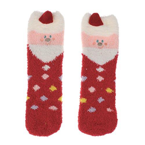 Sharplace Erwachsene Mädchen Set Box Santa Fleece Slipper Socken Winter Weihnachten - Weihnachtsmann, wie beschrieben