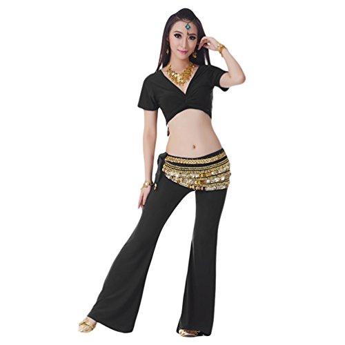 YiJee Danza del Vientre Trajes de Mujeres Rendimiento Top y Pantalones Negro
