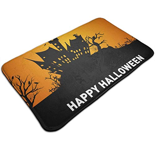 Voxpkrs Personalized Door Mats-Happy Halloween Autumn Tree & Pumpkin Indoor Door Mat,31.5 X 19.5 Inches