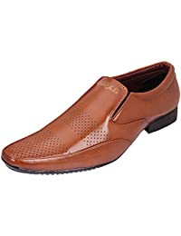 AXONZA Mens' 405 Tan Slip On Office/Party Wear Synthetic Leather Formal Shoes