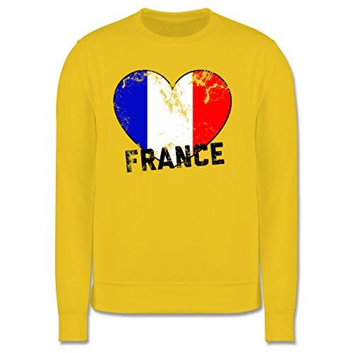 EM 2016 - Frankreich - France Herz Vintage - Herren Premium Pullover Gelb