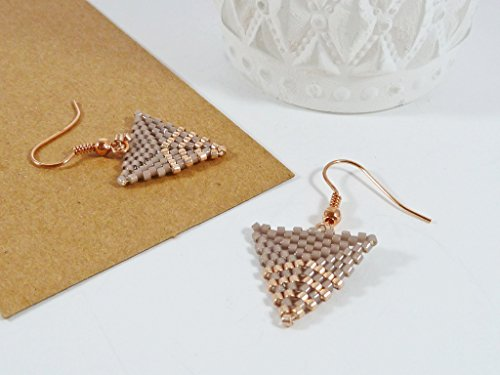 triangle-earrings-rose-gold-and-beige-geometric-chevron-design-handmade-beaded-earrings