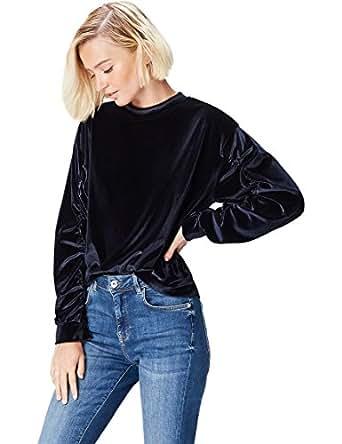 FIND Sweatshirt Damen aus Velours, mit Raffungen an den Ärmeln und glänzendem Finish, Blau (Navy), 34 (Herstellergröße: X-Small)