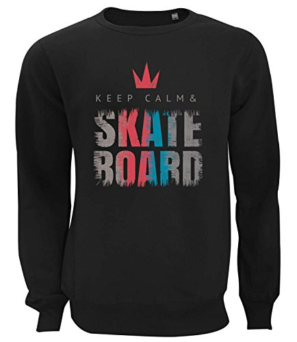 three-monkeys-slogan-keep-calm-and-skateboard-grunge-design-womens-unisex-sweatshirt-noir-small