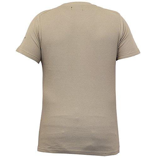 Herren T-shirt Brave Soul Waffel Kurzärmelig Armee Top Mit Rundhals Freizeit Sommer Pilz - 69FORT