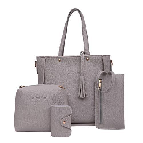 LHWY Mode Frauen Geschenk Set Handtasche Schulter Geldbörsen Taschen Kartenhalter Pu Leder Tasche Bag Brieftasche für Damen Mädchen(4Pcs Taschen Set) (Grau)