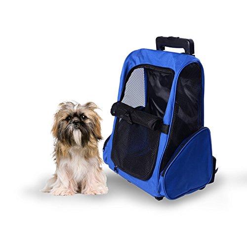 Imagen de transportin carrito perro 2 en 1  carrito 36x30x49 cm mascotas perro gato azul alternativa