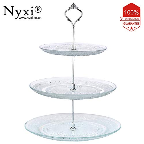 Premium Glass 3 Tier Cake Stand Round Display with New Fittings