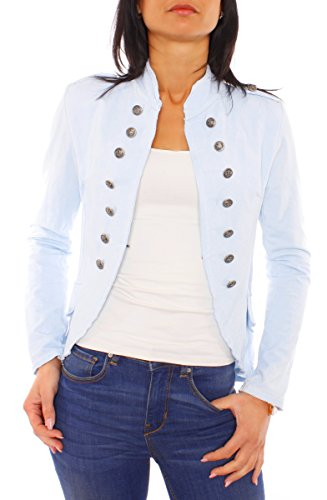 Damen Vintage Uniform Military Admiral Style Sweat Jersey Blazer Sakko Jacke Kurz Knopfleiste Offen Einfarbig Hellblau L 40 (XL)