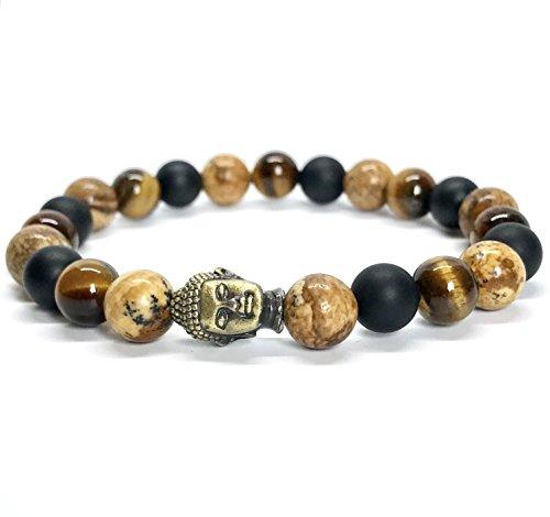 GOOD.designs Buddhismus Perlenarmband aus echten Natursteinen und edler Buddha-Kopf Perle, Chakra-Schmuck für Damen und Herren, Yoga-bracelet (Steinmix)