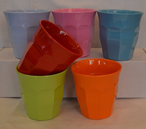 Rice Medium Melamine Curved Cups in 6 Assorted Bright Colours AA2223