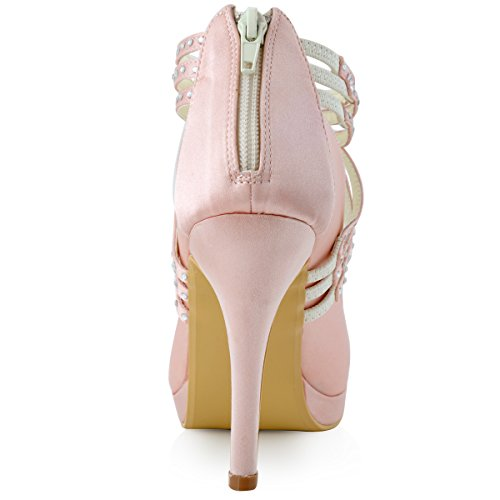 ElegantPark EP11085-PF Satin Geschlossen Zehen Satin Krause Pumps Plateau Tanzschuhe Damen Brautschuhe Pink