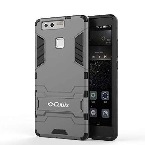 Quicksand Cubix Robot Case For Huawei P9 Case Back Cover Warrior Hybrid Defender Bumper Shock Proof Case Armor Cover With Stand For Huawei P9 Grey  available at amazon for Rs.398