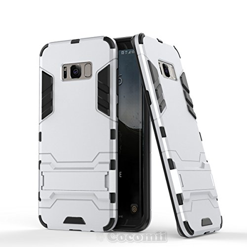 Galaxy S8 Plus Funda, Cocomii Iron Man Armor NEW [Heavy Duty] Premium Tactical Grip Kickstand Shockproof Hard Bumper Shell [Military Defender] Full Body Dual Layer Rugged Cover Case Carcasa (Silver)