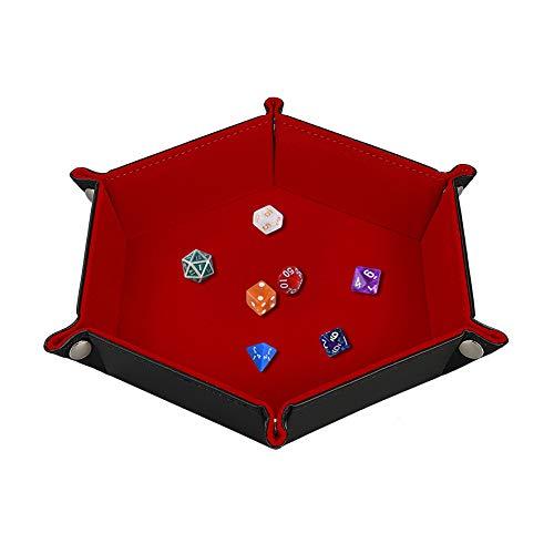 Würfelschale Würfel-Rollenhalter Samt PU-Leder Klappverschluss Aufbewahrungskiste Hexagon für Schmuck, Münzen, RPG, DND und andere Tischspiele (Leder-würfel-box)