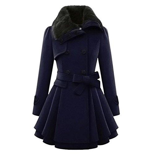 Damen winterjacke FORH Klassisch Frauen Warme Dünne Mantel Jacke Elegant Trenchcoat Steppjacke Vintage Winter Dicke Lange Einfarbig Druckknopf Parkajacke Outwear (Vintage Blau, S)