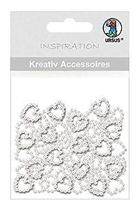 Ursus 56410024 - Mini Set de Accesorios creativos, 50 Perlas de corazón, diámetro Aprox. 10 mm, Adecuado para Scrapbooking, diseño de Tarjetas y Paquetes de Regalo, Marfil