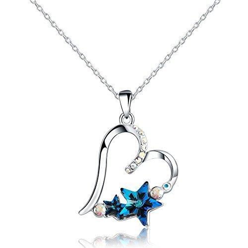 Swarovski Elements - Placcato platino - Collane con pendente a forma di amore cuore (blu)