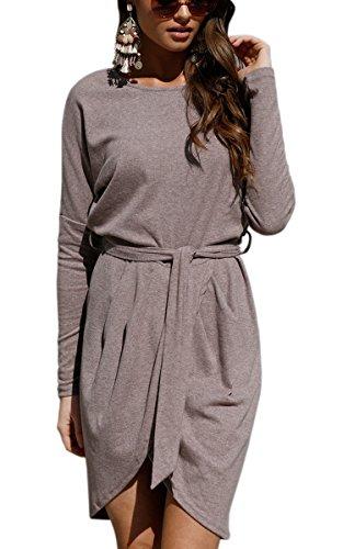 ECOWISH Damen Rundhals kleid Beiläufiges Langarm Minikleid T-shirt kleid Mit Gürtel Kaffee M