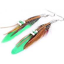 Aretes de pendiente - SODIAL(R)1par de Aretes de pendiente de cuentas de plumas de India de estilo de Bohemia exotico de moda (verde)