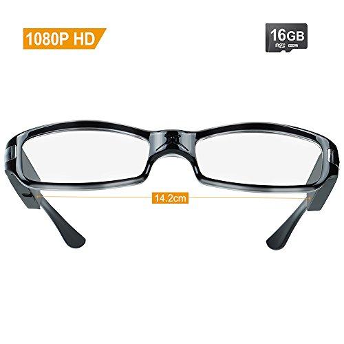 TEKMAGIC 16GB 1920x1080P HD Tragbarer Video Brille Spion Kamera Recorder DV Camcorder (Brille Video Recorder)