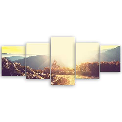 ge Bildet® hochwertiges Leinwandbild XXL Naturbilder Landschaftsbilder - Road in Forest - Natur Blumen - 200 x 80 cm mehrteilig (5 teilig) 2213 E