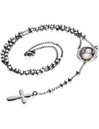 Stein Halskette Rosenkranz Onyx Kreuz Anhänger Edelstahl Herren Kette Kugelkette